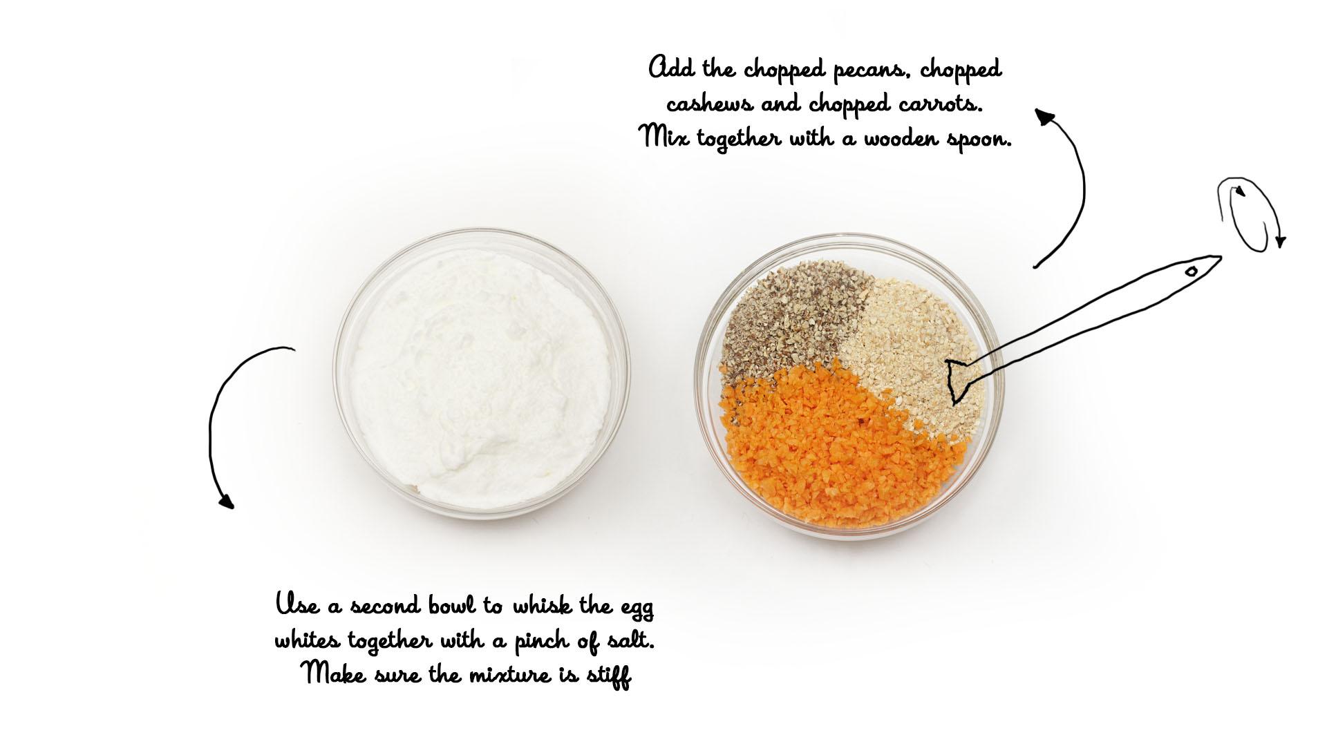 Worteltaart recept stap 2: in een aparte kom klop je het eiwit stijf en meng met de geraspte wortel en de geplette nootjes
