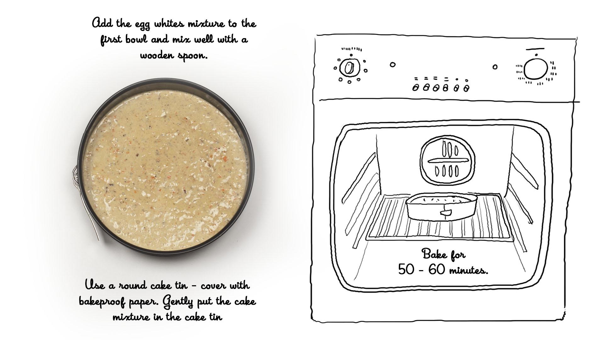 Worteltaart recept stap 3: spatel het eiwitmengsel onder het beslag in de eerste kom en plaats gedurende 50-60 minuten in de oven.